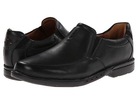 Clarks - Un.Corner Twin (Black Leather) Men's Slip-on Dress Shoes
