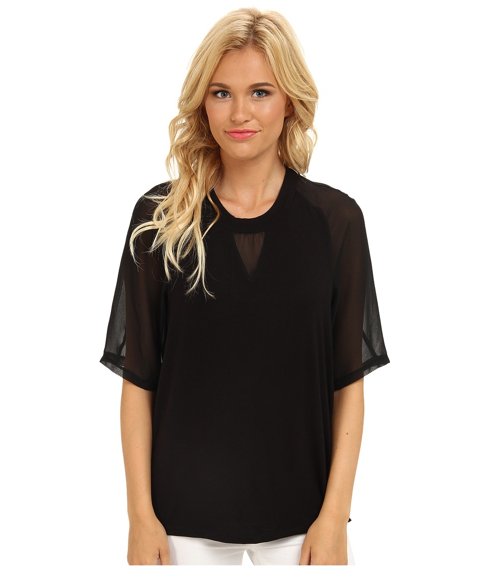 BCBGeneration - Knit Tee w/ Chiffon Sleeves (Black) Women's Short Sleeve Pullover