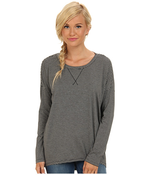 BCBGeneration - Drop Shoulder Tunic (Heather Grey Black Stripe) Women's Clothing