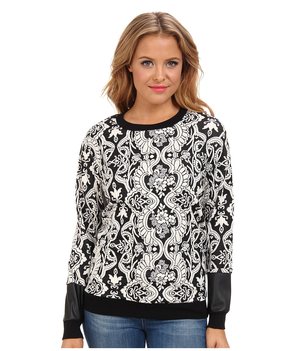 BCBGeneration - Printed Sweatshirt (Black Combo) Women's Sweatshirt