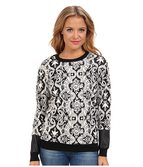 BCBGeneration - Printed Sweatshirt (Black Combo) Women