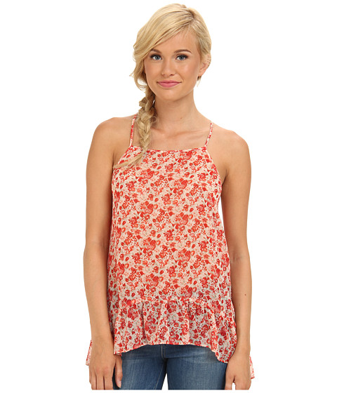 BCBGeneration - Asymmetrical Tie Back Top (Fiery Red Multi) Women's Clothing