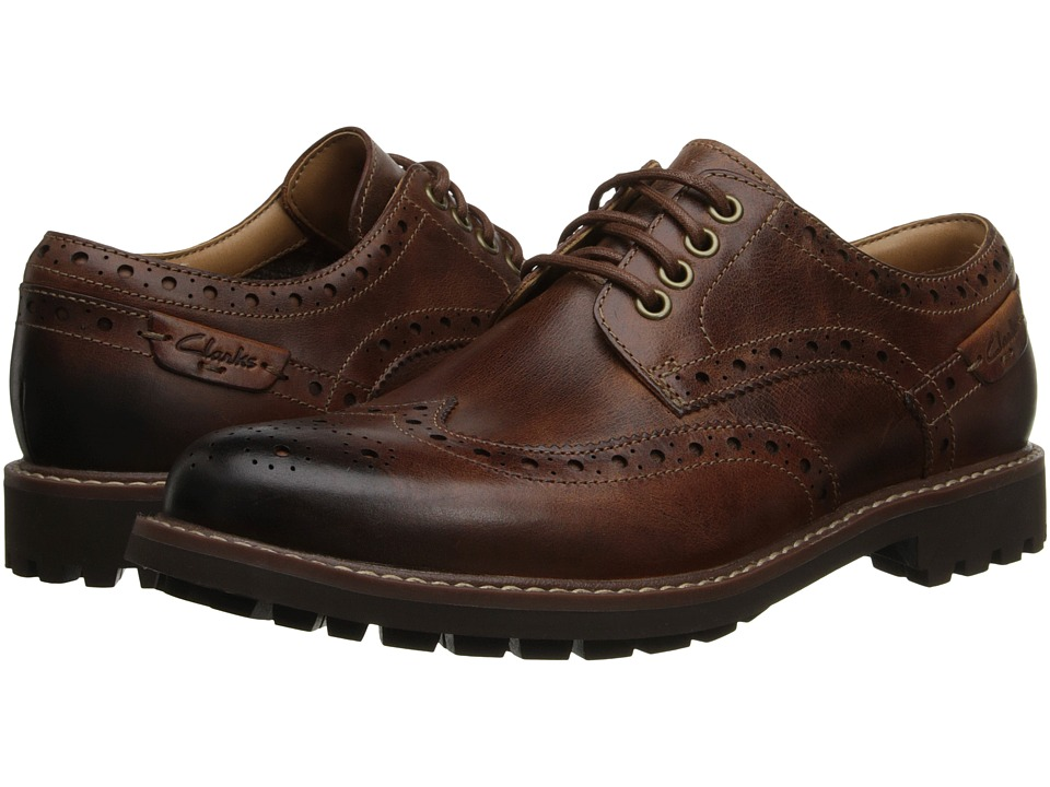 Clarks - Montacute Wing (Dark Tan Leather) Men's Lace Up Wing Tip Shoes