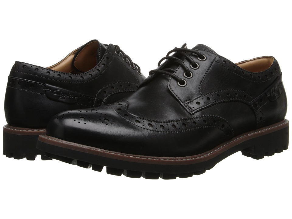 Clarks - Montacute Wing (Black Leather) Men's Lace Up Wing Tip Shoes