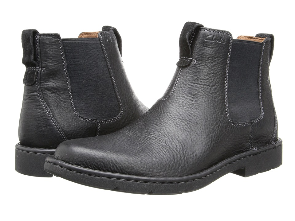 Clarks - Stratton Hi (Black Leather) Men's Boots