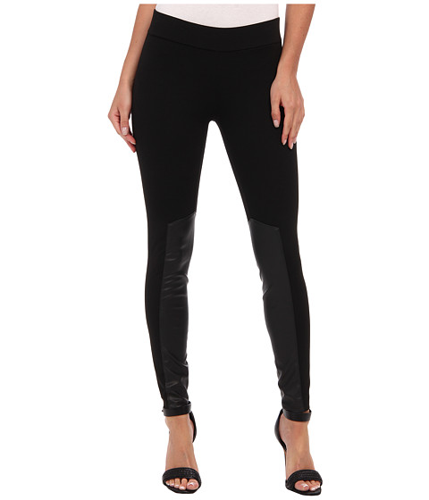 BCBGeneration - Eco Leather Trim Legging (Black) Women's Casual Pants