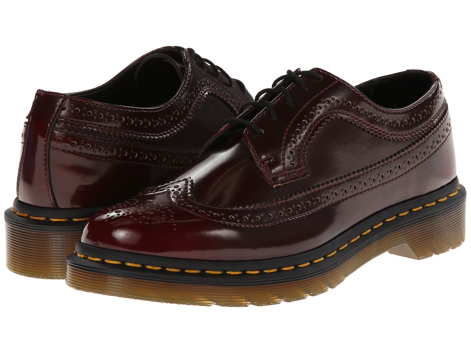 Dr. Martens - 3989 Wingtip Shoe (Cherry Red Cambridge Brush) Women's Lace Up Wing Tip Shoes