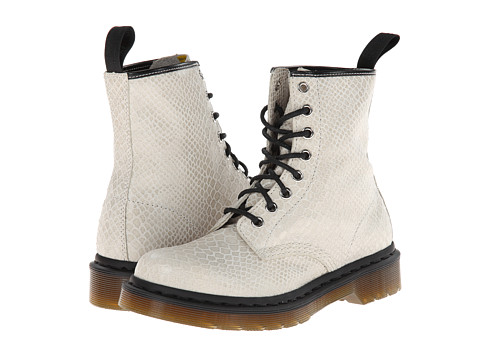 Dr. Martens - 1460 8-Eye Boot (Off White Hi Shine Snake) Women's Lace-up Boots