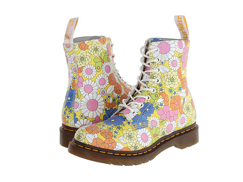 Dr. Martens - Pascal 8-Eye Boot (Yellow Vintage Daisy) Women's Lace-up Boots