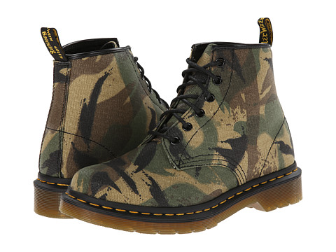 Dr. Martens - Cerren 6-Eye Boot (Green Large Camo Waxy Canvas) Women's Lace-up Boots