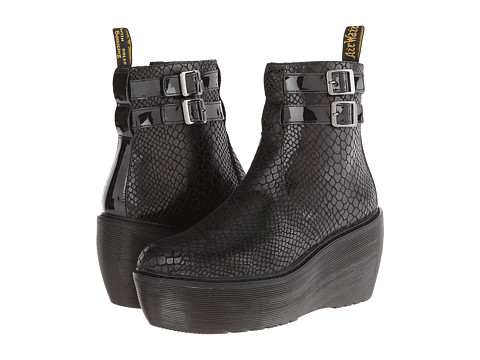 Dr. Martens Caitlin 2 Strap Ankle Boot (Black Hi Shine Snake Patent Lamper) Women's Pull-on Boots
