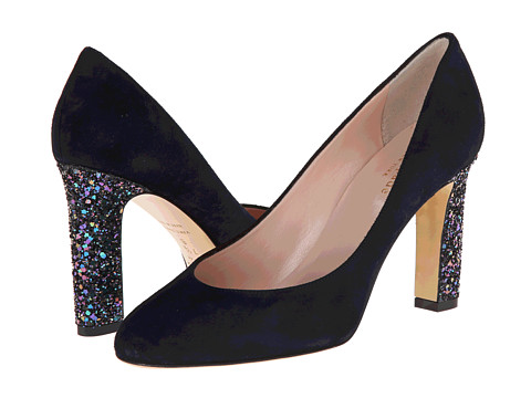 Kate Spade New York - Allora (Navy Suede/Black Multi Glitter Heel) High Heels