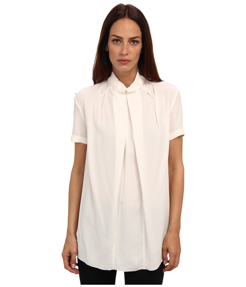 CoSTUME NATIONAL - Turtleneck Pleat Front Top (White) Women's Short Sleeve Pullover
