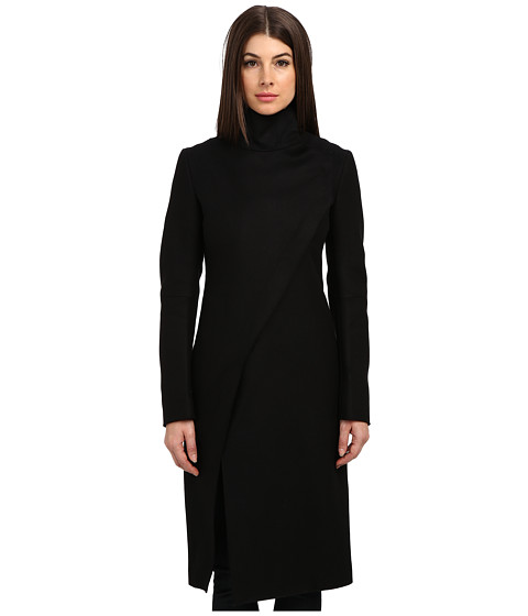 CoSTUME NATIONAL - Funnel Neck Asym Zipper Coat (Black) Women's Coat