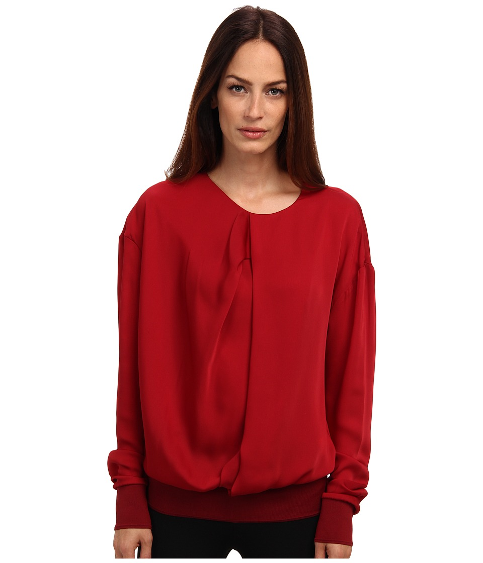 CoSTUME NATIONAL - Drape Front Sweatshirt (Ruby) Women's Long Sleeve Pullover