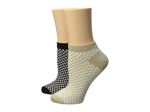 Anne Klein - 2-Pack Checkered Ped (Rope/Black) Women's Crew Cut Socks Shoes