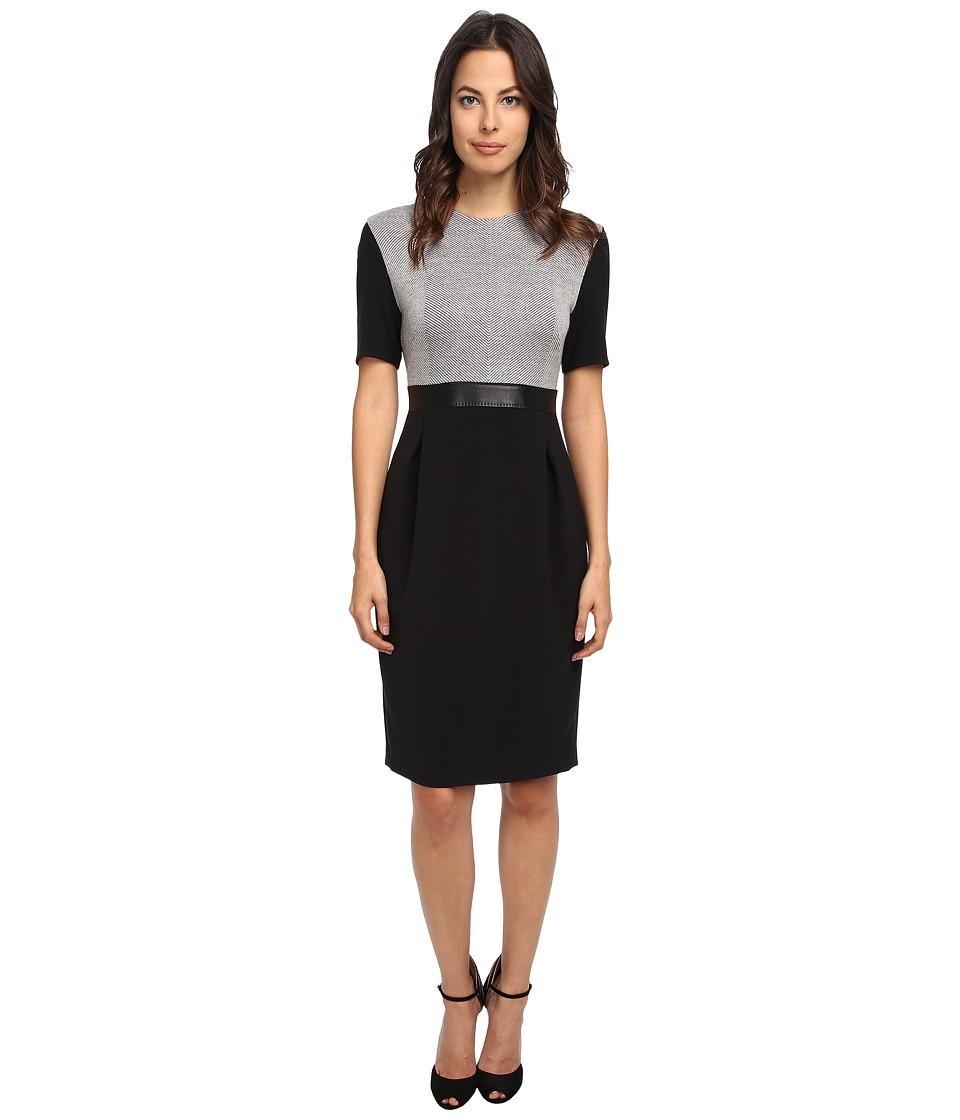 CoSTUME NATIONAL - S/S Herringbone Bodice Dress (Black) Women's Dress