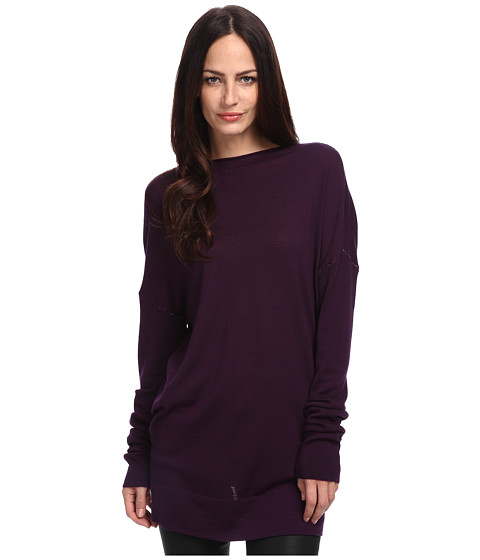 CoSTUME NATIONAL - Oversize L/S Knit Sweater (Eggplant) Women's Sweater