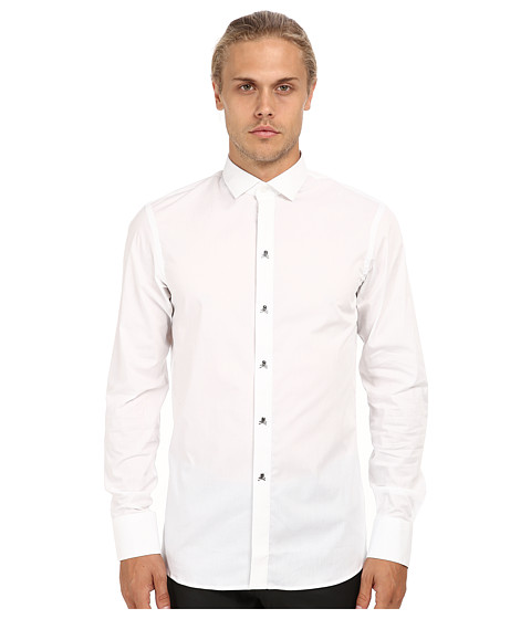 Philipp Plein - Meet You At The Club Button Up (White) Men's Long Sleeve Button Up