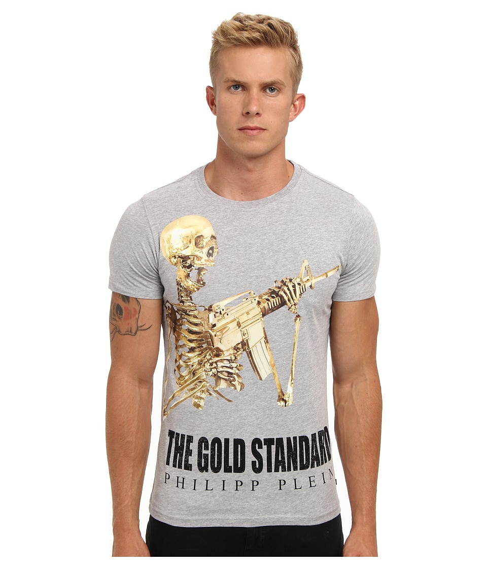 Philipp Plein - The Gold Standard T-Shirt (Grey) Men's Short Sleeve Pullover