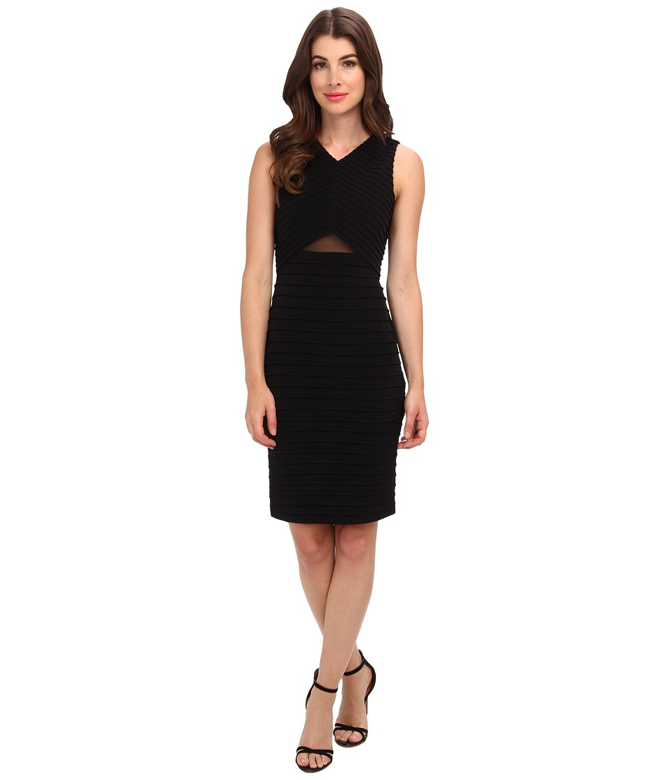 Calvin Klein - Ribbed Triangle Illusion Waist Dress (Black) Women