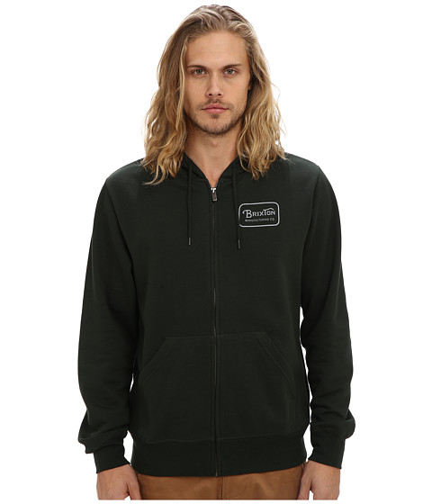 Brixton - Grade Zip Hood Fleece (Hunter Green) Men's Fleece
