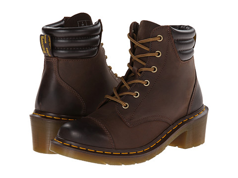 Dr. Martens - Alexandra 6-Eye Padded Collar Boot (Dark Brown Polished Wyoming) Women's Lace-up Boots