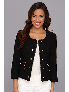 SALE! $62.99 - Save $116 on Jones New York L S Textured Jacket w Frayed (Black) Apparel - 64.81% OFF $179.00