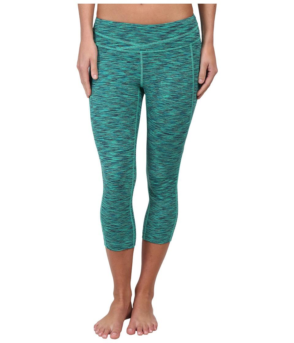 Lucy - Hatha Capri Legging (Jade Space Dye) Women's Capri