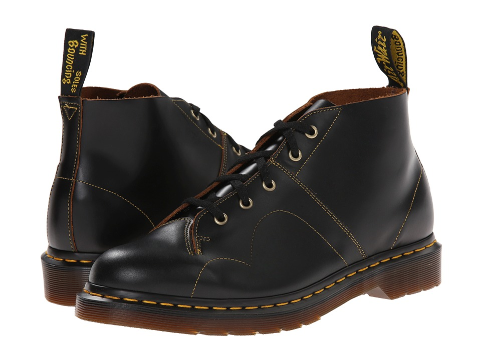 Dr. Martens - Church Monkey Boot (Black Vintage Smooth) Lace-up Boots