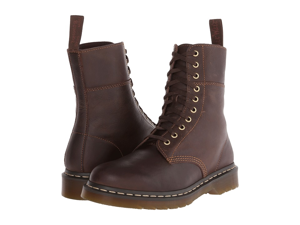 Dr. Martens - Bart 10-Eye Boot (Dark Brown Polished Wyoming) Men's Lace-up Boots