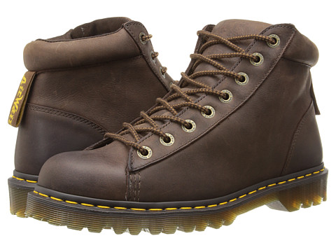 Dr. Martens - Arne 8-Tie Boot (Dark Brown Burnished Wyoming) Men's Lace-up Boots