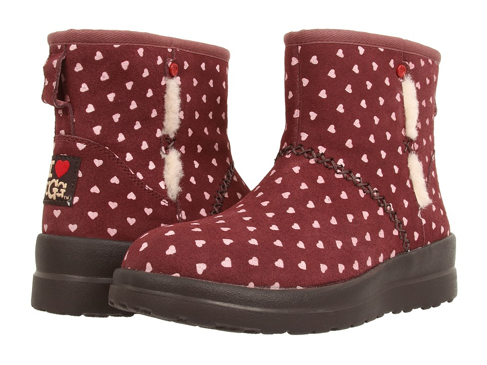 Womens Boots UGG Kisses Mini Berry Crush Hearts Suede