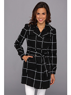 SALE! $82.99 - Save $116 on Jones New York Double Breasted Trench Coat (Black White) Apparel - 58.30% OFF $199.00