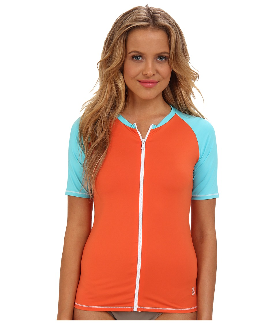 Tommy Bahama - Deck Piping Short Sleeve Rashguard w/ Zipper (Ginger/Capri) Women's Swimwear
