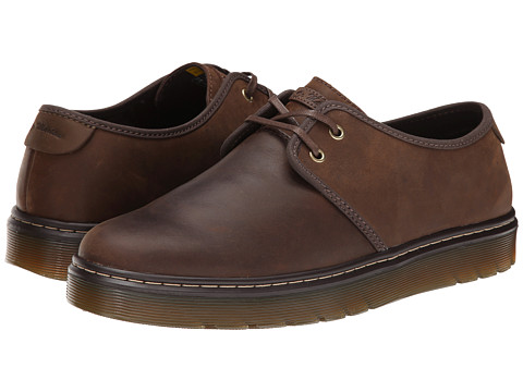 Dr. Martens - York Plain Toe Shoe (Dark Brown Wyoming/Dark Moss Kaya) Men
