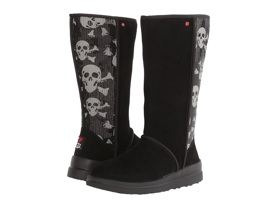 UGG - Kisses Tall (Black Sequin Skull Suede) Women's Zip Boots