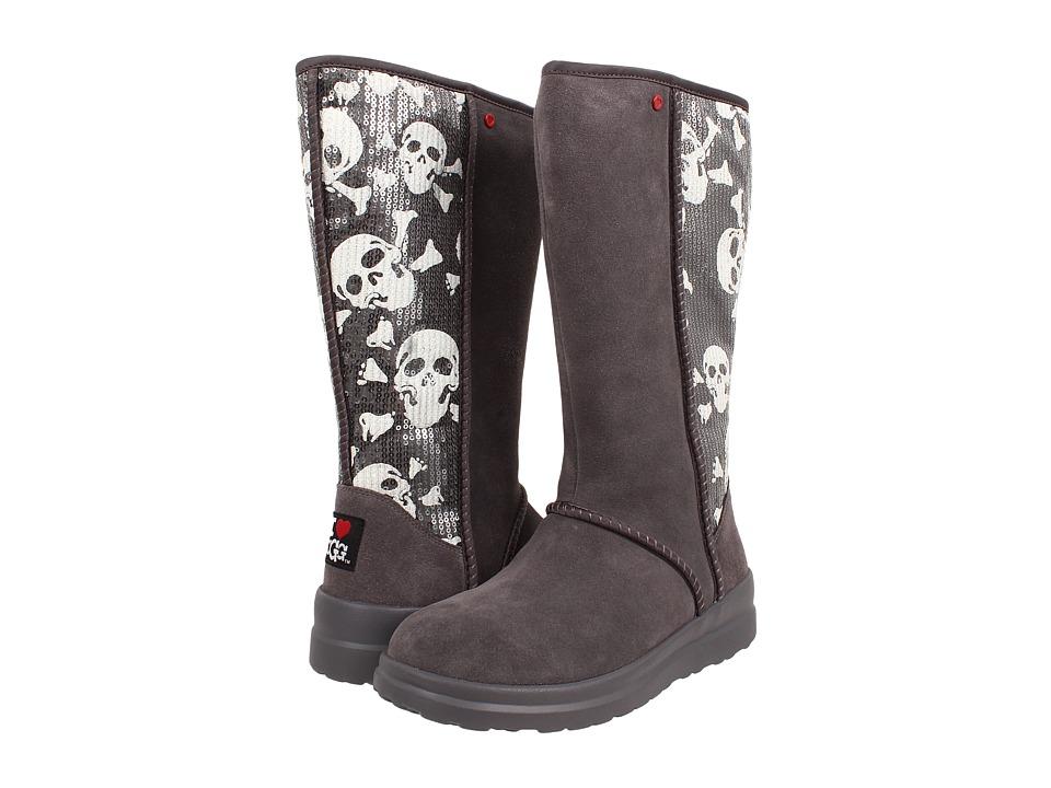 UGG - Kisses Tall (Grey Sequin Skulls Suede) Women's Zip Boots