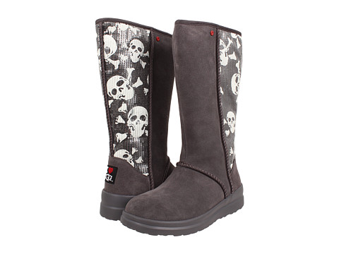 UGG - Kisses Tall (Grey Sequin Skulls Suede) Women's Zip Boots