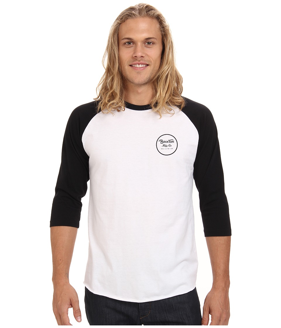 Brixton - Wheeler 3/4 Sleeve Tee (White/Black) Men's Long Sleeve Pullover