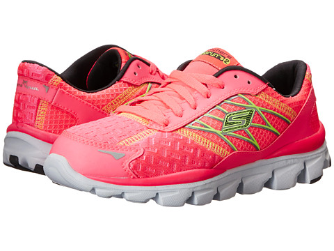 SKECHERS KIDS - Go Run Ride - Nite Owl 80470L (Little Kid/Big Kid) (Hot Pink/Lime) Girls Shoes