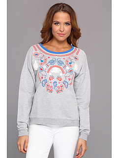 SALE! $41.99 - Save $43 on Yumi Floral Folk Pullover (Grey Marl) Apparel - 50.60% OFF $85.00