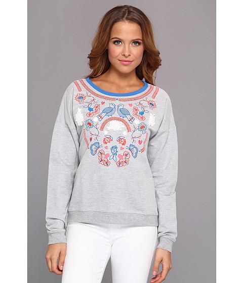 Yumi - Floral Folk Pullover (Grey Marl) Women's Sweatshirt