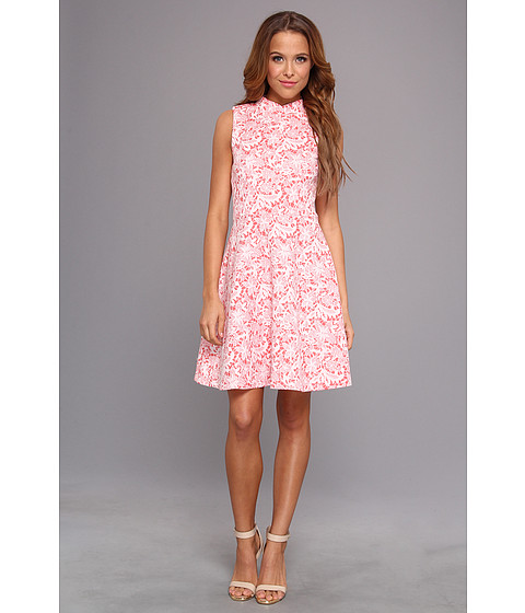 Yumi - Floral Flare Dress (Coral) Women