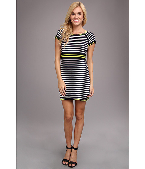 Yumi - Nautical Stripe Knit Dress (Navy) Women's Dress