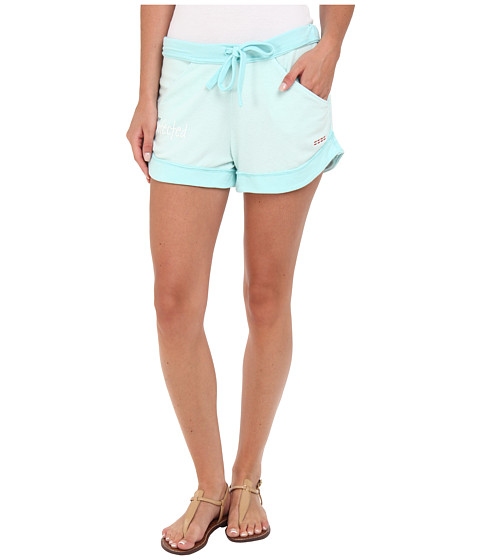 Peace Love World - Boyfriend Comfy Shorts (Seafoam) Women's Shorts