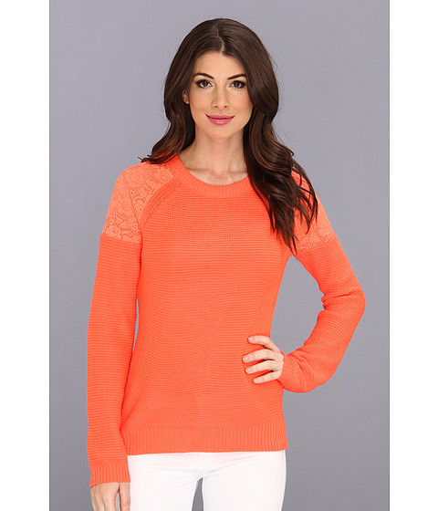 Yumi - Lace Neon Sweater (Corail) Women's Sweater