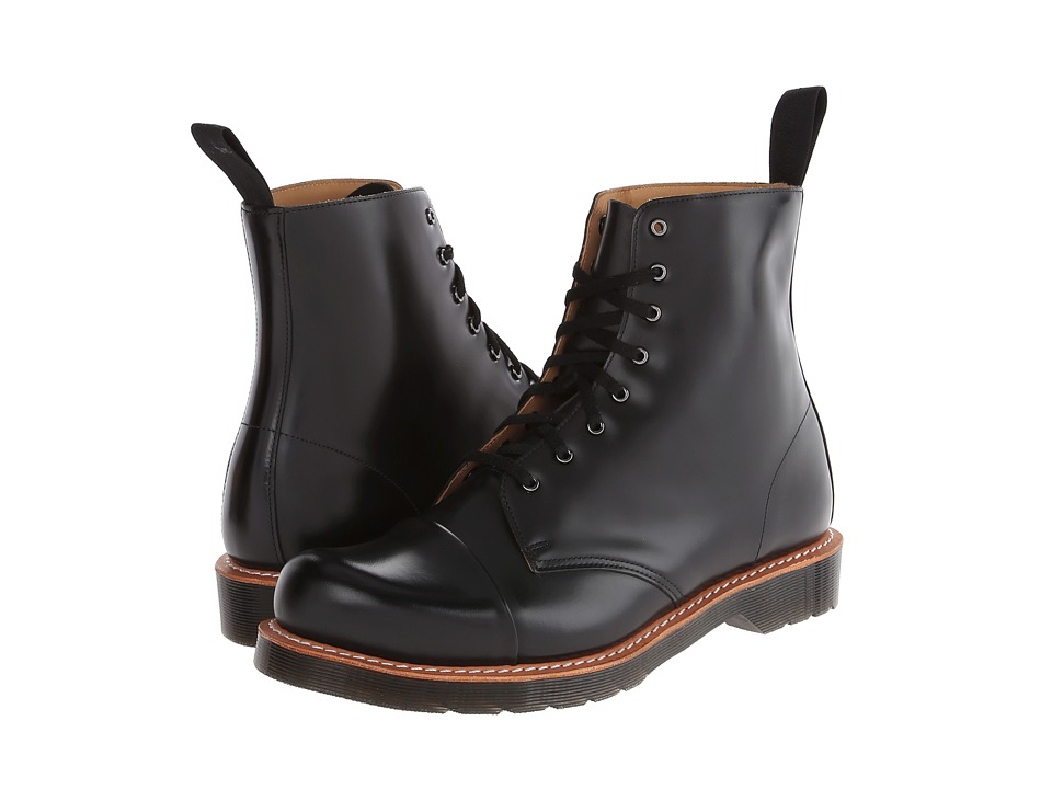 Dr. Martens - Charlton 8-Eye Toe Cap Boot (Black Polished Smooth) Men's Lace-up Boots