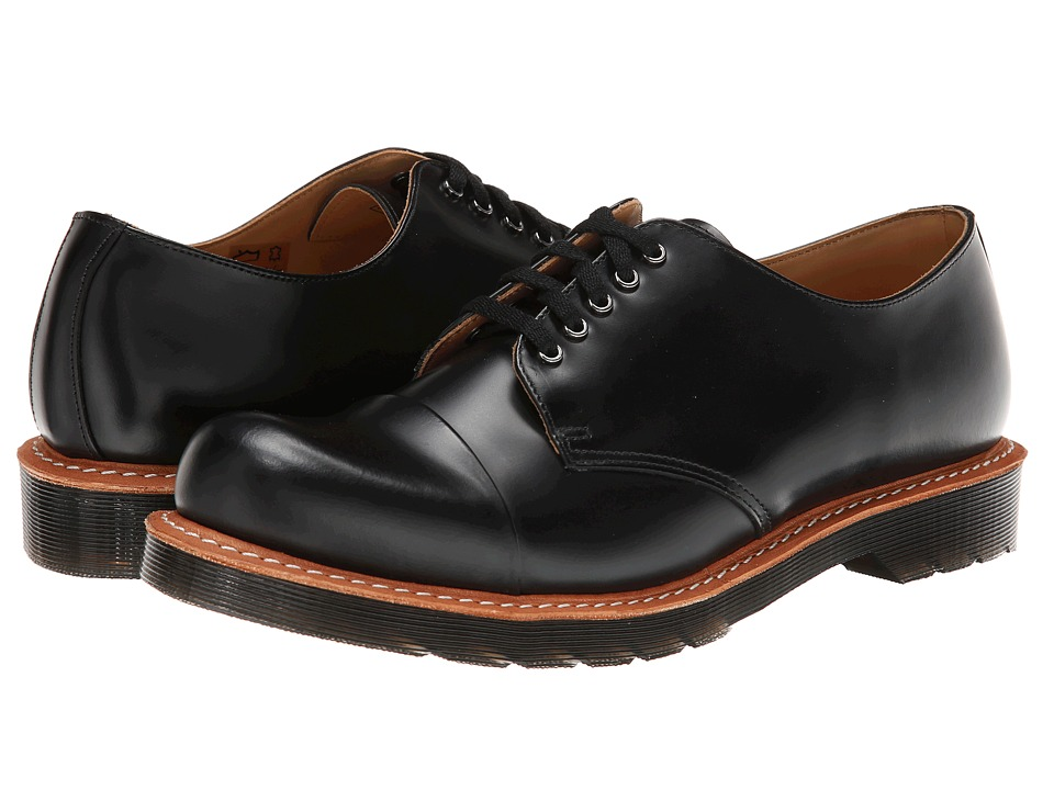 Dr. Martens - Leigh 5-Eye Toe Cap Shoe (Black Polished Smooth) Men