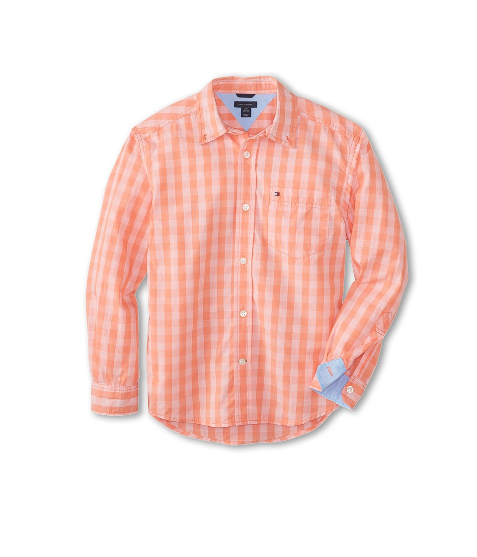 Tommy Hilfiger Kids - Mander Gingham Woven Shirt (Big Kids) (Dusky Coral) Boy's Long Sleeve Button Up